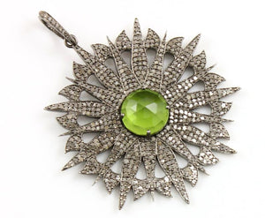 Pave Diamond Circle With Peridot Pendant --DP-0947 - Beadspoint