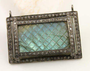 Pave Diamond Labradorite Rectangle Pendant -- DP-1162 - Beadspoint