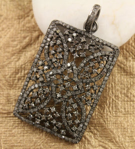 Pave Diamond Rectangle Designer Pendant -- DP-1158 - Beadspoint