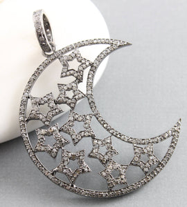 Pave Diamond Moon and Star Celestial Pendant -- DP-1454 - Beadspoint