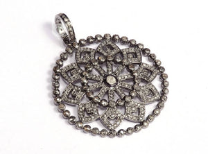 Pave Diamond Lotus Flower Pendant -- DP-1592 - Beadspoint