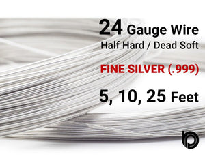 24 Gauge Fine Silver Round Half Hard or Dead Soft Wire