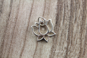 Sterling Silver Lotus Flower Charm-- SS/CH4/CR107 - Beadspoint