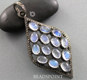 Pave Diamond Rainbow Moonstone Pendant -- DP-1749 - Beadspoint