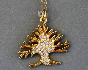 Gold Vermeil Over Sterling Silver Tree Of Life Charm With White Topaz  -- VM/CH4/CR143 - Beadspoint