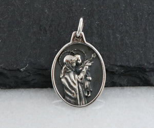 Sterling Silver Artisan Mother Mary Charm  -- SS/CH1/CR69 - Beadspoint