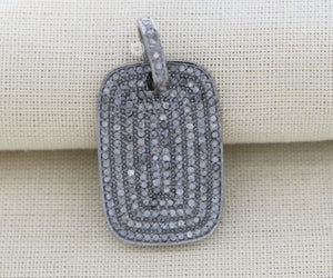 Pave Diamond Dog Tag Pendant -- DPS-042 - Beadspoint