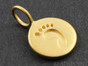 24K Gold Vermeil Over Sterling Silver Baby Feet Stamp Charm-- VM/CH10/CR16 - Beadspoint