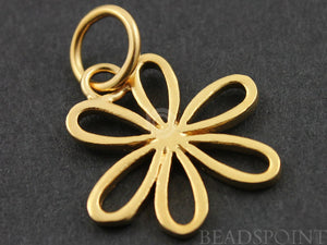 24K Gold Vermeil Over Sterling Silver 6 Petals Flower Charm -- VM/CH4/CR26