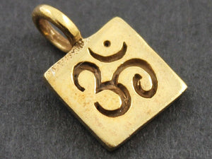 24K Gold Vermeil Over Sterling Silver OHM Stamped in Square Charm -- VM/CH2/CR31
