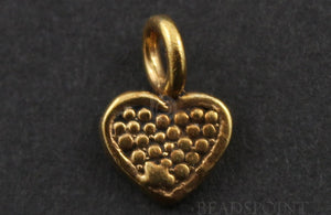 24K Gold Vermeil Over Sterling Silver Heart Charm -- VM/CH8/CR22 - Beadspoint