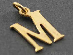 "Gold Vermeil Over Sterling Silver Letter ""M"" Initial Charm -- VM/2032/M - Beadspoint"