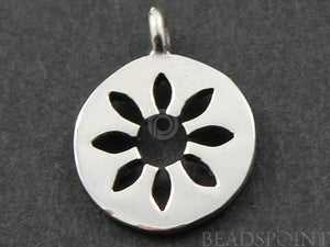 Sterling Silver Daisy Cut Out on a Disc Charm -- SS/CH4/CR47 - Beadspoint