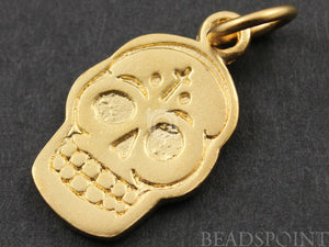 24K Gold Vermeil Over Sterling Silver Skull Charm  -- VM/CH10/CR25 - Beadspoint