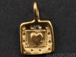 24K Gold Vermeil Over Sterling Silver Square Heart with Dotted Pattern Charm-- VM/CH8/CR24 - Beadspoint