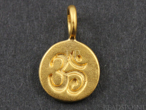 24K Gold Vermeil Over Sterling Silver OHM Charm -- VM/CH2/CR3