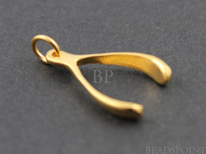 24K Gold Vermeil Over Sterling Silver Small Wish Bone Charm  -- vm/CH5/CR6 - Beadspoint