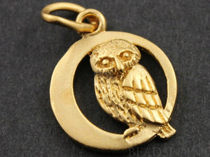 24K Gold Vermeil Over Sterling Silver Owl on a Moon Charm -- VM/CH5/CR15 - Beadspoint