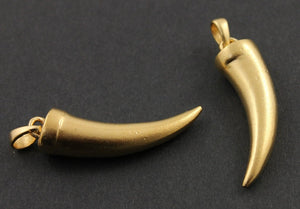 24K Gold Vermeil Over Sterling Silver Long Shark Tooth Charm  -- VM/CH6/CR37