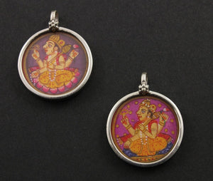 Sterling Silver Hand Painted Indian God Charm -- TCH-11