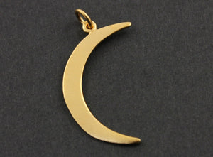 24K Gold Vermeil Over Sterling Silver Crescent Large Moon Charm -- VM/CH5/CR25