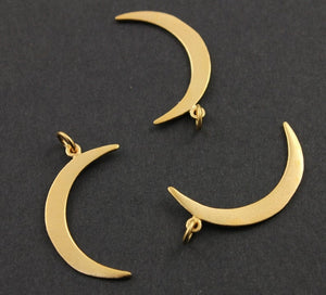 24K Gold Vermeil Over Sterling Silver Crescent Large Moon Charm -- VM/CH5/CR25 - Beadspoint