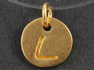 "24K Gold Vermeil Over Sterling Initial ""L"" on a Disc Charm -- VM/2034/L - Beadspoint"
