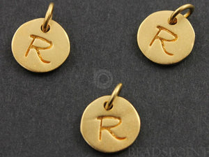 "24K Gold Vermeil Over Sterling Initial ""R"" on a Disc Charm -- VM/2034/R - Beadspoint"