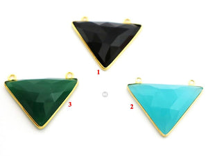 Gold Plated Faceted Triangle Bezel, 22x30 mm, Multiple Colors, (BZC-9017) - Beadspoint