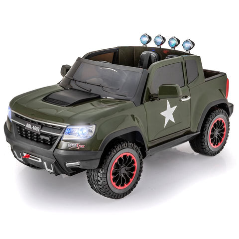 SUPERtrax Offroad 4WD Military Edition Kid's Ride On Truck - Royalty Wheels