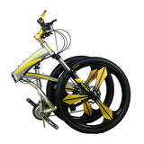 Rich Bit RT-601 Folding Mountain Bike - Silver/Yellow - Royalty Wheels