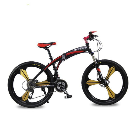 Rich Bit RT-601 Folding Mountain Bike - Black/Red - Royalty Wheels