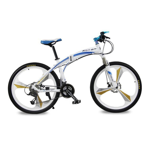 Rich Bit RT-601 Folding Mountain Bike - Blue/White - Royalty Wheels