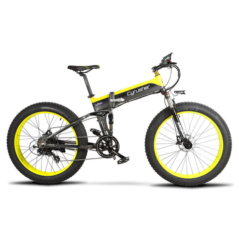Cyrusher XF690 Folding Electric Fat Tire Bike - Black/Yellow - Royalty Wheels