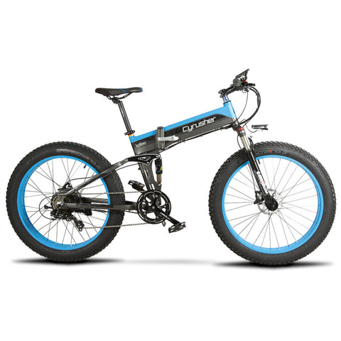 Cyrusher XF690 Folding Electric Fat Tire Bike - Black/Blue - Royalty Wheels