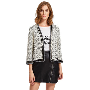 Pearl Beaded Tweed Coat