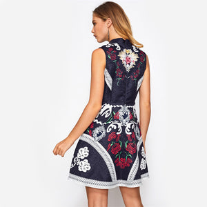 Floral Mix Print Fit and Flare Jacquard Dress