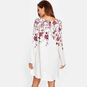 White Botanical Flowy Print Dress