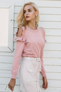 Elegant Pale Pink Ruffled Shoulder Knit