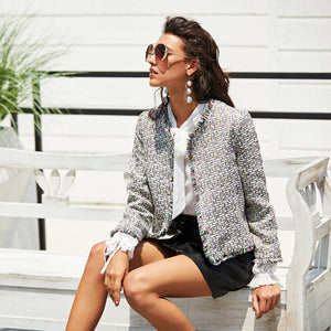 Frayed Collarless Blazer
