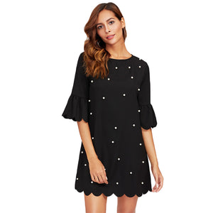 Black Scalloped Trumpet Sleeve Pearl Beaded Dress