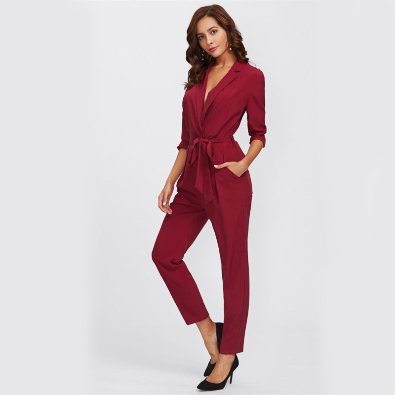 Wine Red V- Neck Jumpsuit