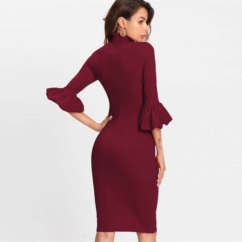 Burgundy Bow Trumpet Sleeve Dress
