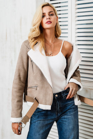 Faux Fur Leather Suede Lamb Jacket