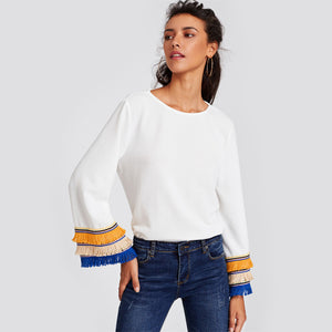 Embroidery Fringe Bell Sleeve
