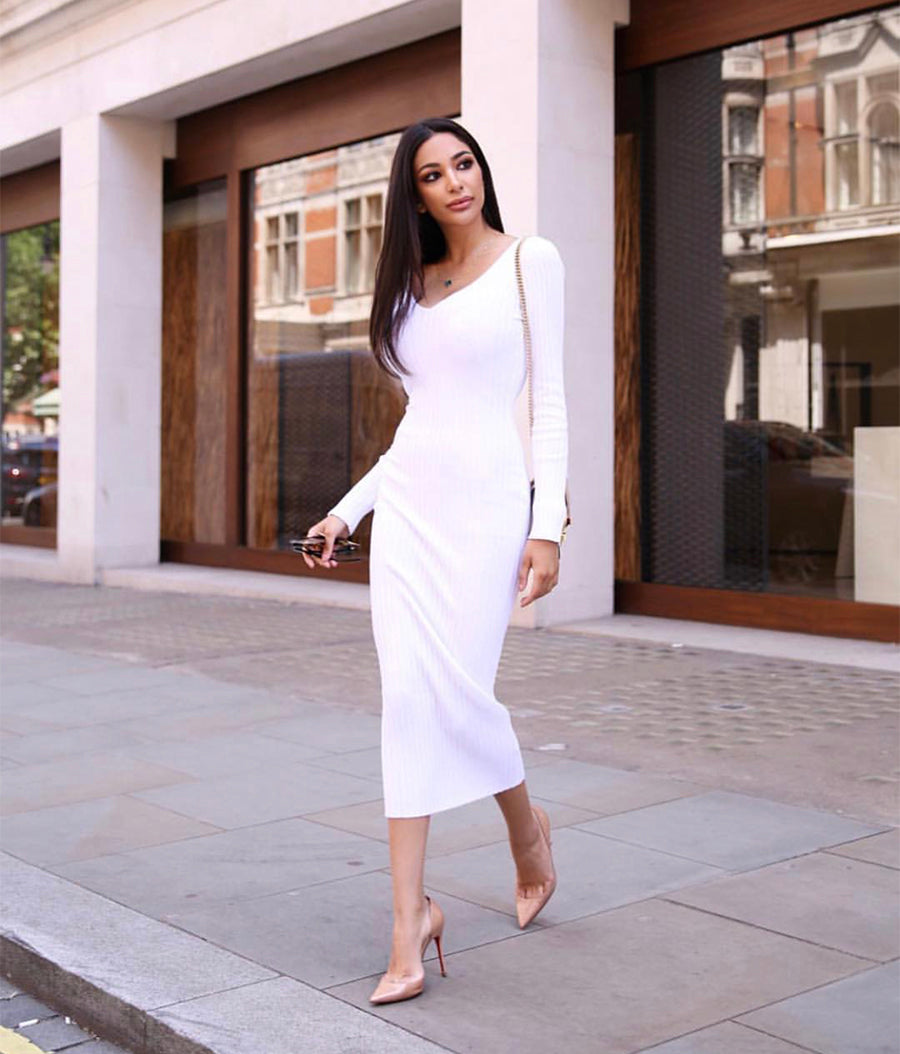 Winter White Bodycon Dress