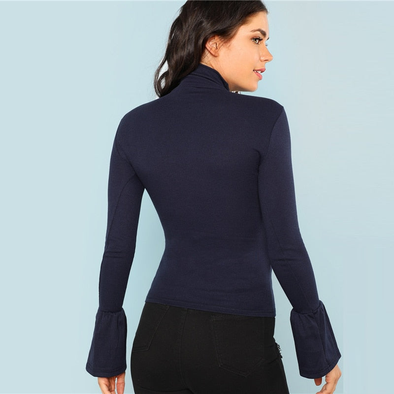 Navy Bell Cuff Turtle Neck