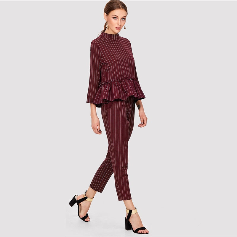 Striped Burgundy Two Piece