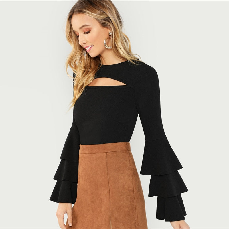 Black Front Cut Tiered Sweater