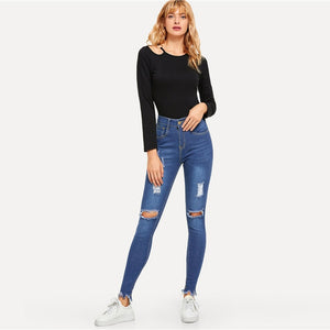 Blue Knee Rips Skinny Denim Jeans